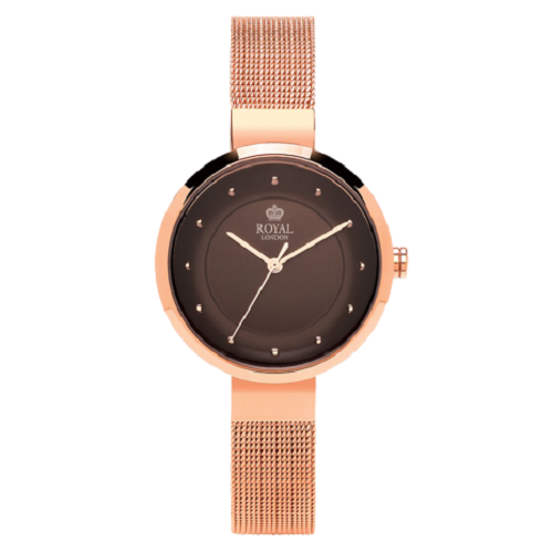 Royal London Stainless Steel Brown Dial Pink Gold Watch
