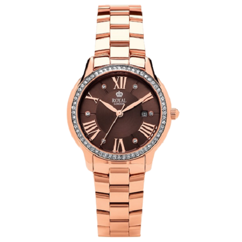 Royal London Brown Dial Ladies Gold Plated Steel Watch