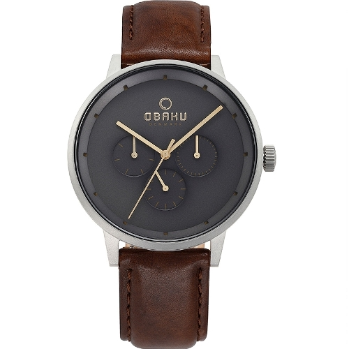 Grey Dial Leather Band Obaku Men's Watch