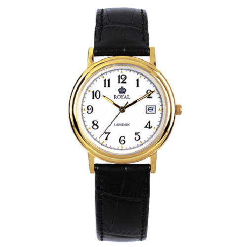 Royal London Gents Classic Gold Dial Black Leather Strap Watch