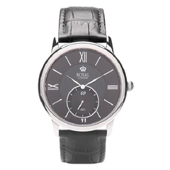 Royal London Gents Black Dial Black Leather Strap Classic Watch