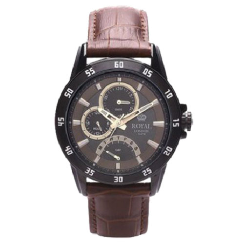 Royal London Men's Brown Dial Brown Leather Strap Watch
