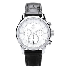 Royal London Men's Black Leather Steel Case Quartz White Dial Watch