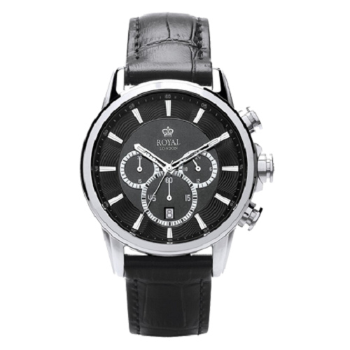 Royal London Waterproof Gent's Chronograph Leather Strap Watch