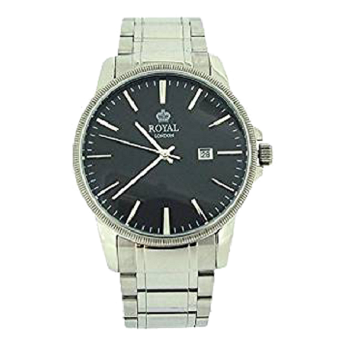 Royal London Gents Calendar Black Dial Stainless Strap Watch