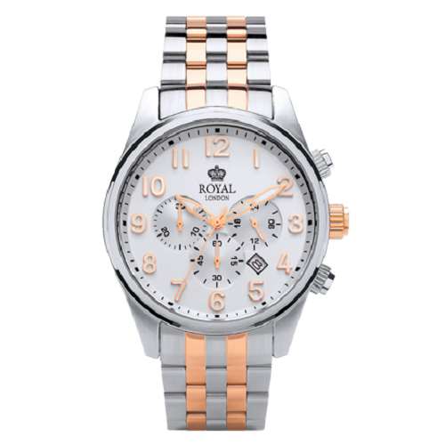 Royal London Chronograph Dress Silver & Rose Gold Steel Watch