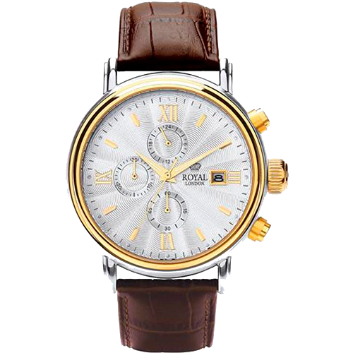 Royal London Men's White Dial Brown Strap Watch