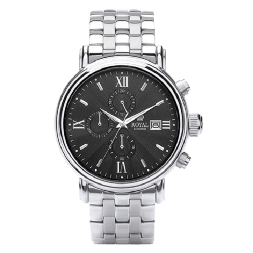 Royal London Gents Chronograph Black Dial Stainless Steel Watch