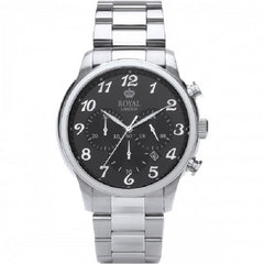 Royal London Chronograph Gents Black Dial Silver Strap Watch