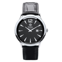Royal London Men's Black Dial Genuine Leather Strap Watch