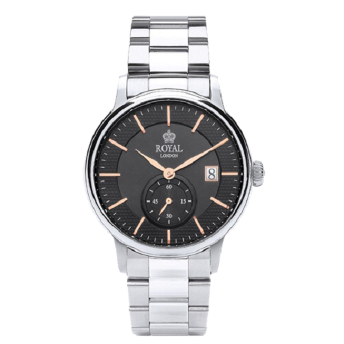 Royal London Gents Classic Stainless Steel Black Dial Date Watch