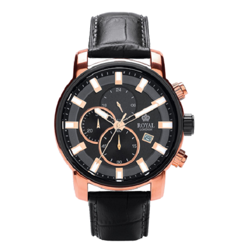 Royal London Dress Rose Gold Black Leather Chronograph Watch