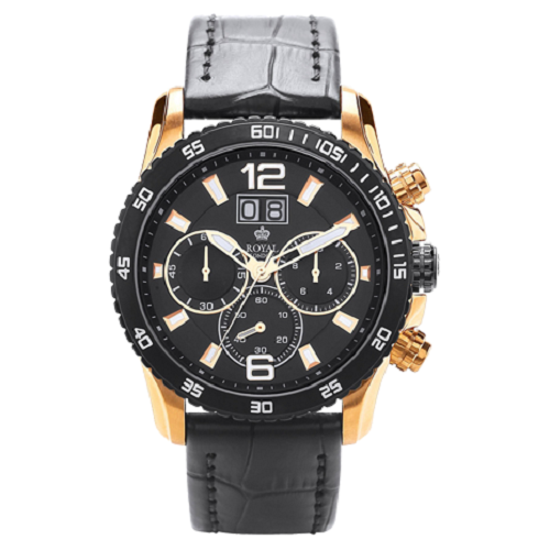 Royal London Black Men's Stainless Steel Hard Golden Pvd Watch