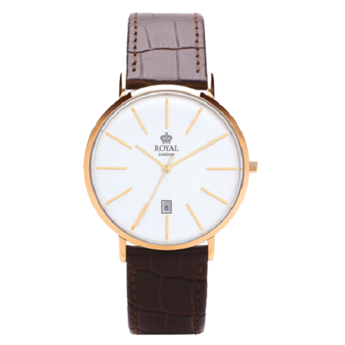 Royal London Classic Gold Brown Leather Strap Watch