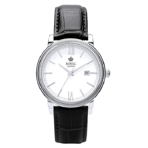Royal London Men's Classic Off White Dial Black Strap Watch