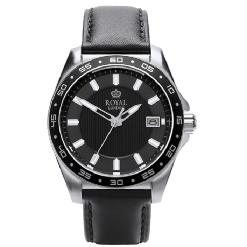 Royal London Sport Gents Black Leather Strap Watch