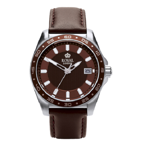 Royal London Sport Brown Leather Strap Gents Stainless Steel Watch