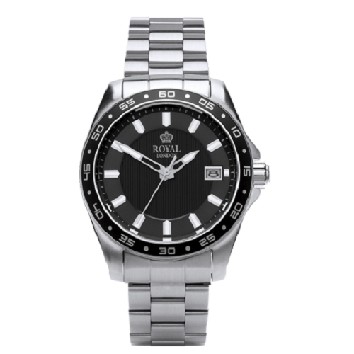 Royal London Sport Gents Stainless Steel Bracelet Black Dial Watch