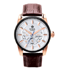 Royal London Gents Multi-Function Brown Strap White Silver Dial Watch