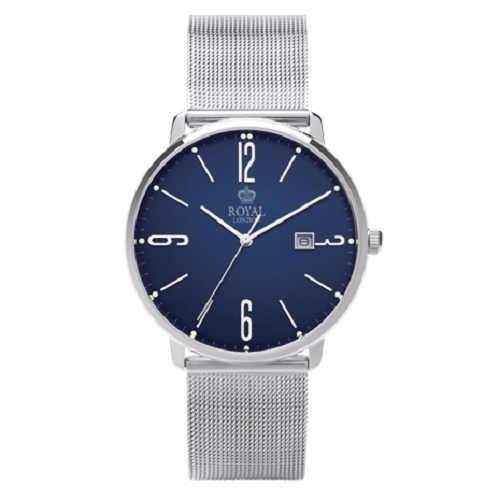 Royal London Gents Classic Blue Silver Bracelet Mesh Band Watch