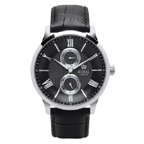 Royal London Fashion Men's Black Leather Strap Black Dial Watch