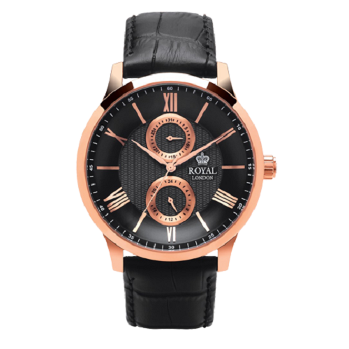 Royal London Fashion Rose Gold Black Leather Strap Gents Watch