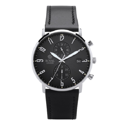 Royal London Fashion Dual Time Black Leather Strap Gents Watch