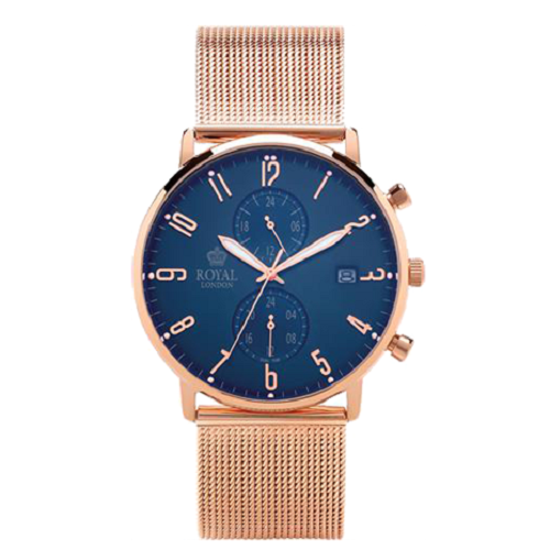 Royal London Man Classic Blue Dial Rose Gold Strap Watch