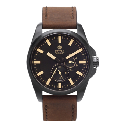 Royal London Brown Leather Strap Black Dial Men's Watch