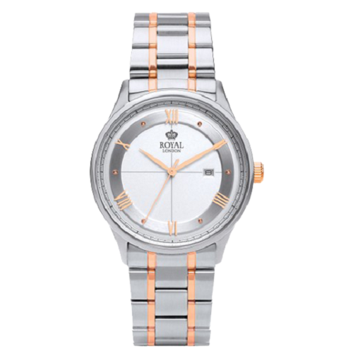 Royal London Gents White Dial Silver Rose Gold Watch