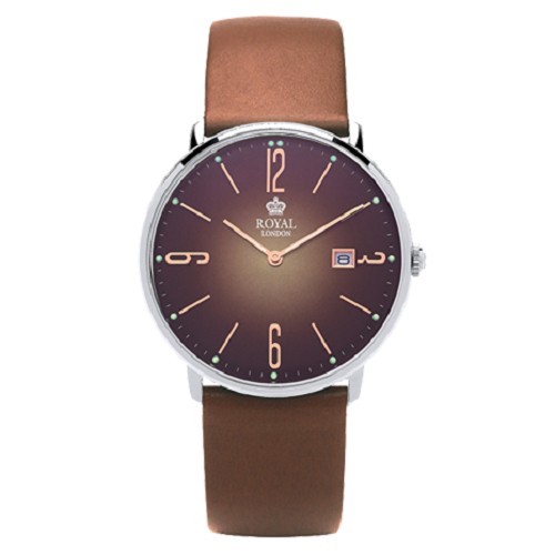 Royal London Strap Brown Leather Mineral Glass Men's Watch
