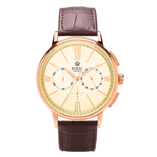 Royal London Brown Strap Skin Beige Dial Men's Watch