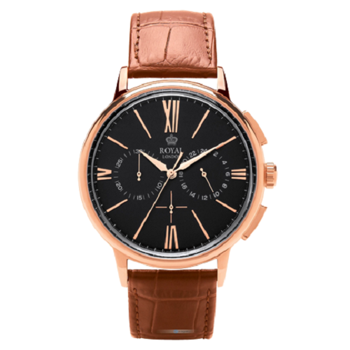 Royal London Westminster Men's Analog Leather Strap Watch