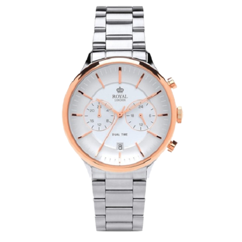Royal London Stainless Steel Analog Silver Dial Pink Gold Watch