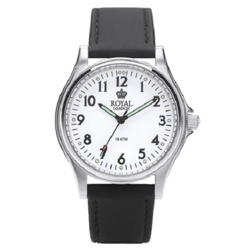 Royal London Men's White Dial Black Leather Strap Watch