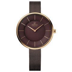 OBAKU Stainless Steel Round Shape Sand Walnut Women Watch