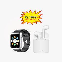 BUNDLE DEAL (Pack of 2)-W08 Smart Watch+Twin i7s Bluetooth Handsfree with pocket charging Dock