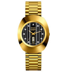 Rado Quartz Black Dial Gold Color Men's Watch