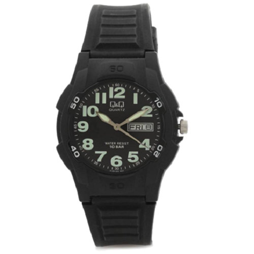 Q&Q Men's Sports Analog Black Dial Black Step Casual Watch
