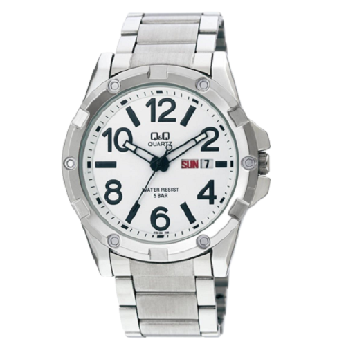 Q&Q Metal Men's Silver Strap Withe Dial Analog Stainless Steel Watch