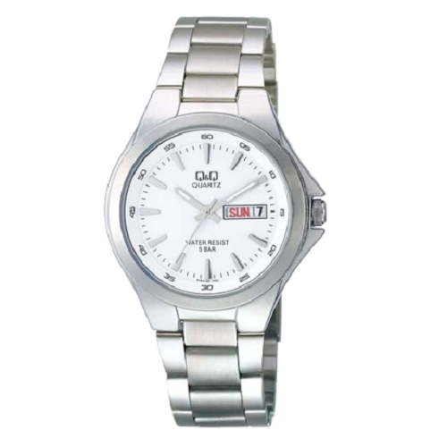 Q&Q Regular Analog White & Silver Men's Stainless Steel Watch
