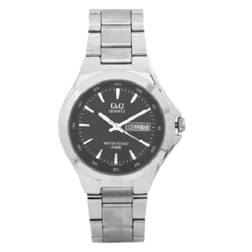 Q&Q Regular Analog Black Dial Men's Stainless Steel Watch