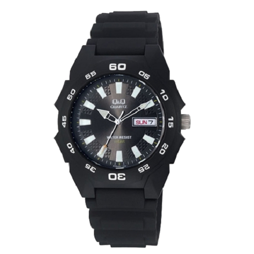Q&Q Sports Analog Black Dial Men's Black Silicone Strap Watch