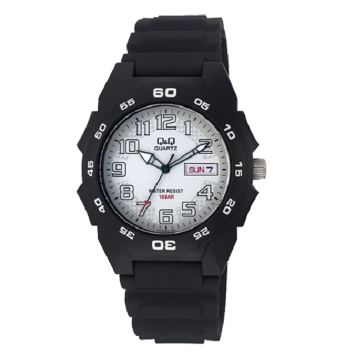 Q&Q Sports Analog White Dial Men's Black Plastic Watch