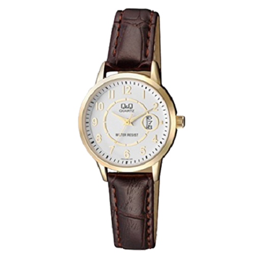 Q&Q Women's Analog White Dial Dark Brown Leather Strap Watch