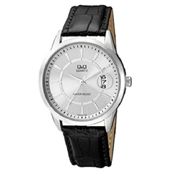 Q&Q Women's Black Leather Strap Silver Dial Analog Watch