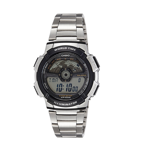 Casio Youth Series Digital Silver Steel Band Multi-Color Dial Men's Watch