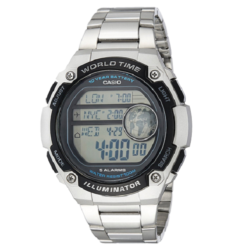 Casio Youth Digital Gray Dial Men's Stylish Bracelet Watch