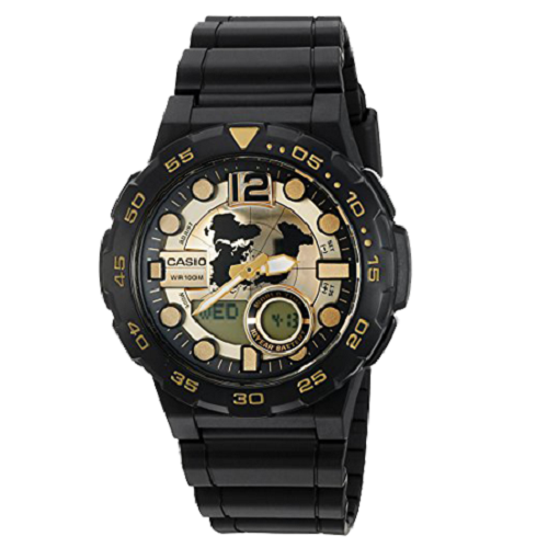 Casio Youth Series Digital Men's Gold Dial Analog Watch