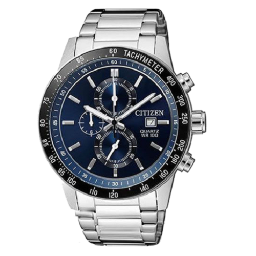 Citizen Chronograph Blue Dial Men's Stainless Steel Analog Watch